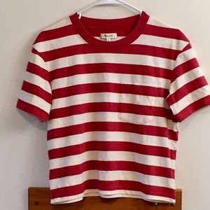 Madewell Sz XS red and white striped shirt